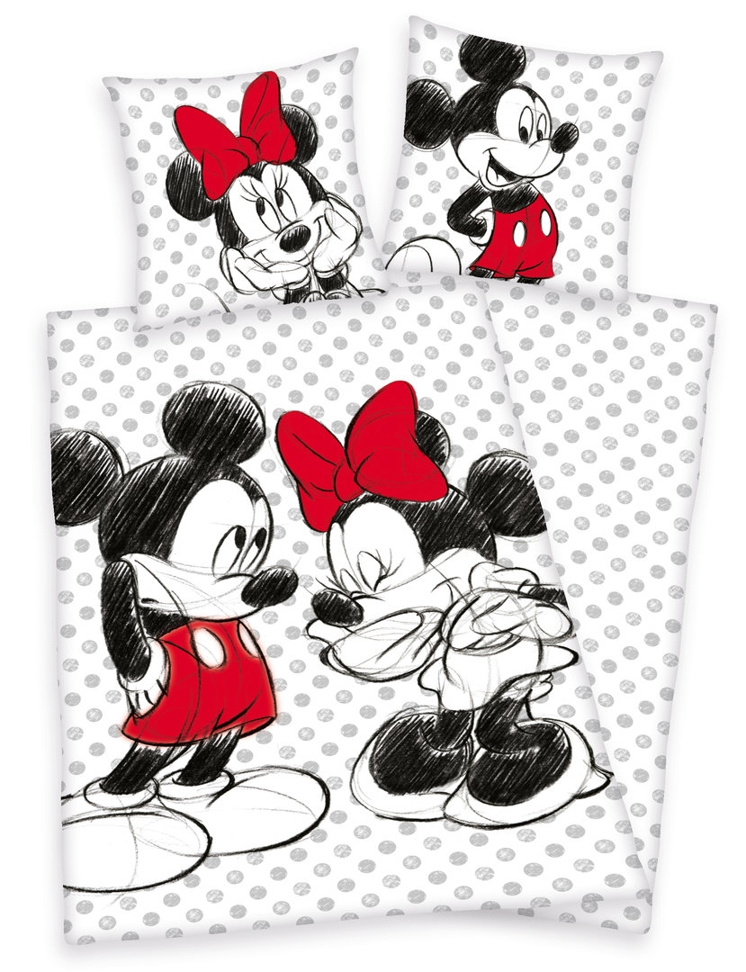 SALE I Disneys Mickey + Minnie Mouse Bettwäsche 80x80 135x200cm