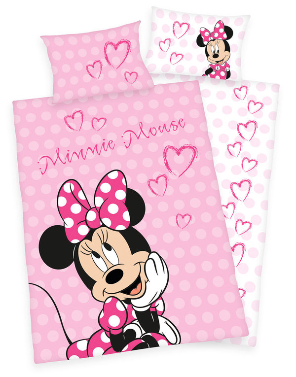Disney´s Minnie Mouse Flanell Bettwäsche 40x60 + 100x135cm