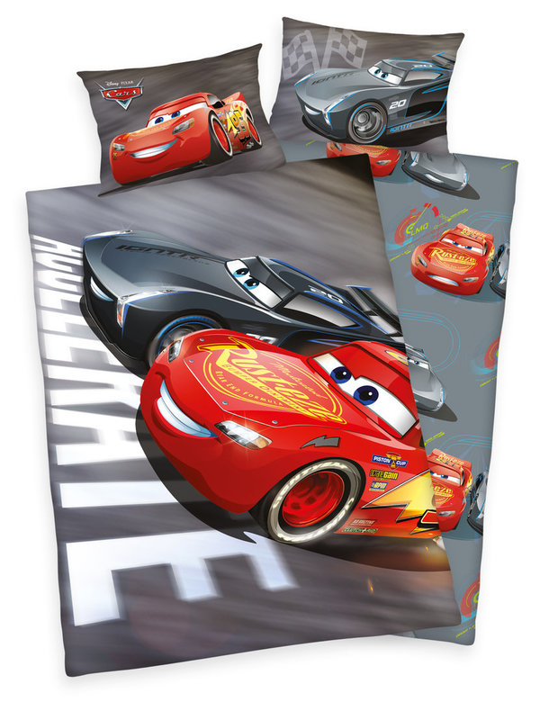 Disneys Cars 3 Bettwäsche 40x60 + 100x135cm