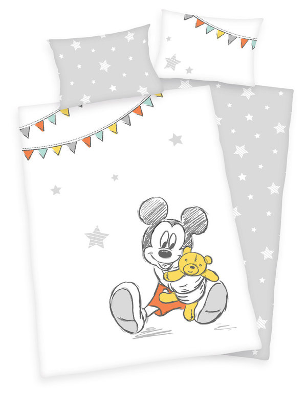 Disney`s Mickey Mouse Flanell Bettwäsche 40x60 + 100x135 cm